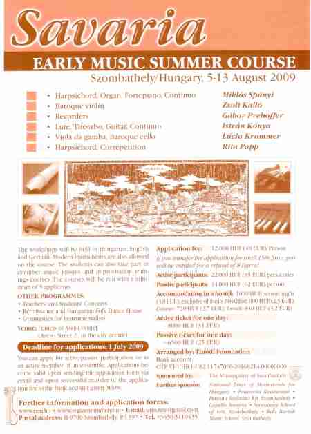 V. EARLY MUSIC SUMMER COURSE